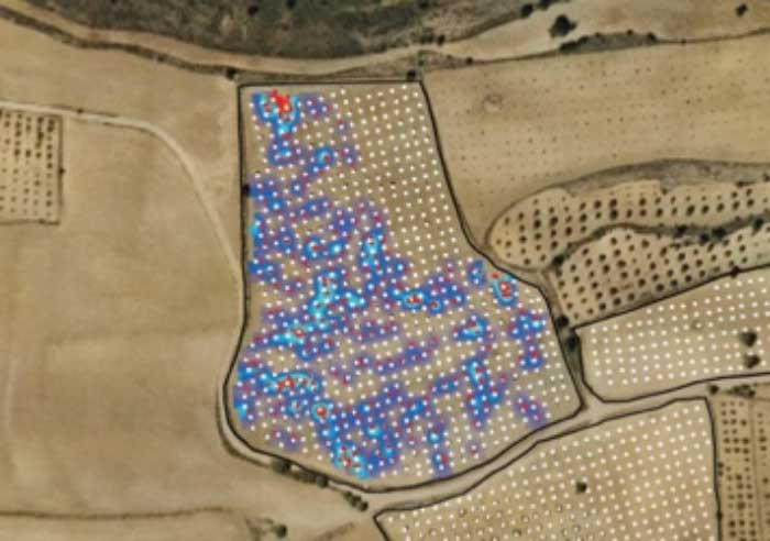 GIS mapping overlay made with GPS showing productive zones